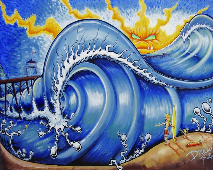 Best Surf Art Images On Pinterest Feelings Landscapes And - Artist paints incredible seaside murals balanced on surfboard