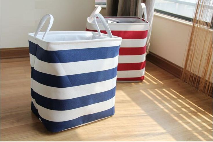 Foldable Linen Cotton Storage Baskets Mediterranean Stripped Clothes Laundry Basket Sundries Organizer Box Home Toys Storage