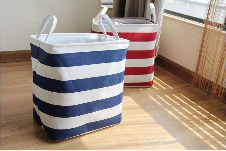 Foldable Linen Cotton Storage Baskets Mediterranean Stripped Clothes Laundry Basket Sundries Organizer Box Home Toys Storage