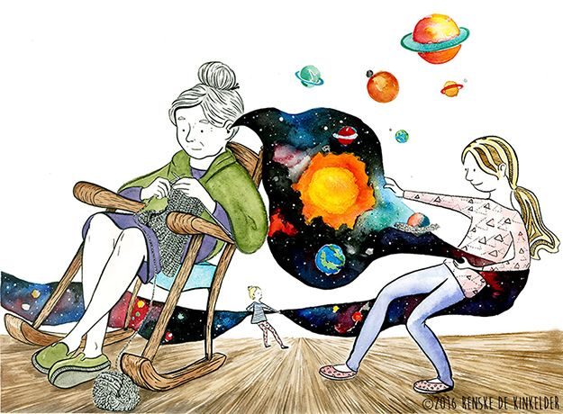 Girls discovering Grandma's expanding universe. Illustration made with watercolour and ink, by Renske de Kinkelder.