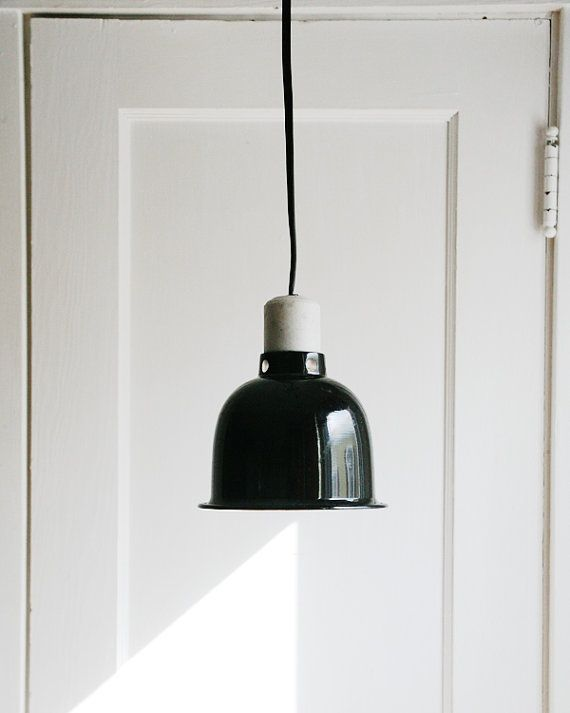 Hanging Lamps With Wall Plugs : Industrial Chic Pendant Light -Vintage Black Enamel Aluminum Shade Hanging Light Fixture- Wall ...