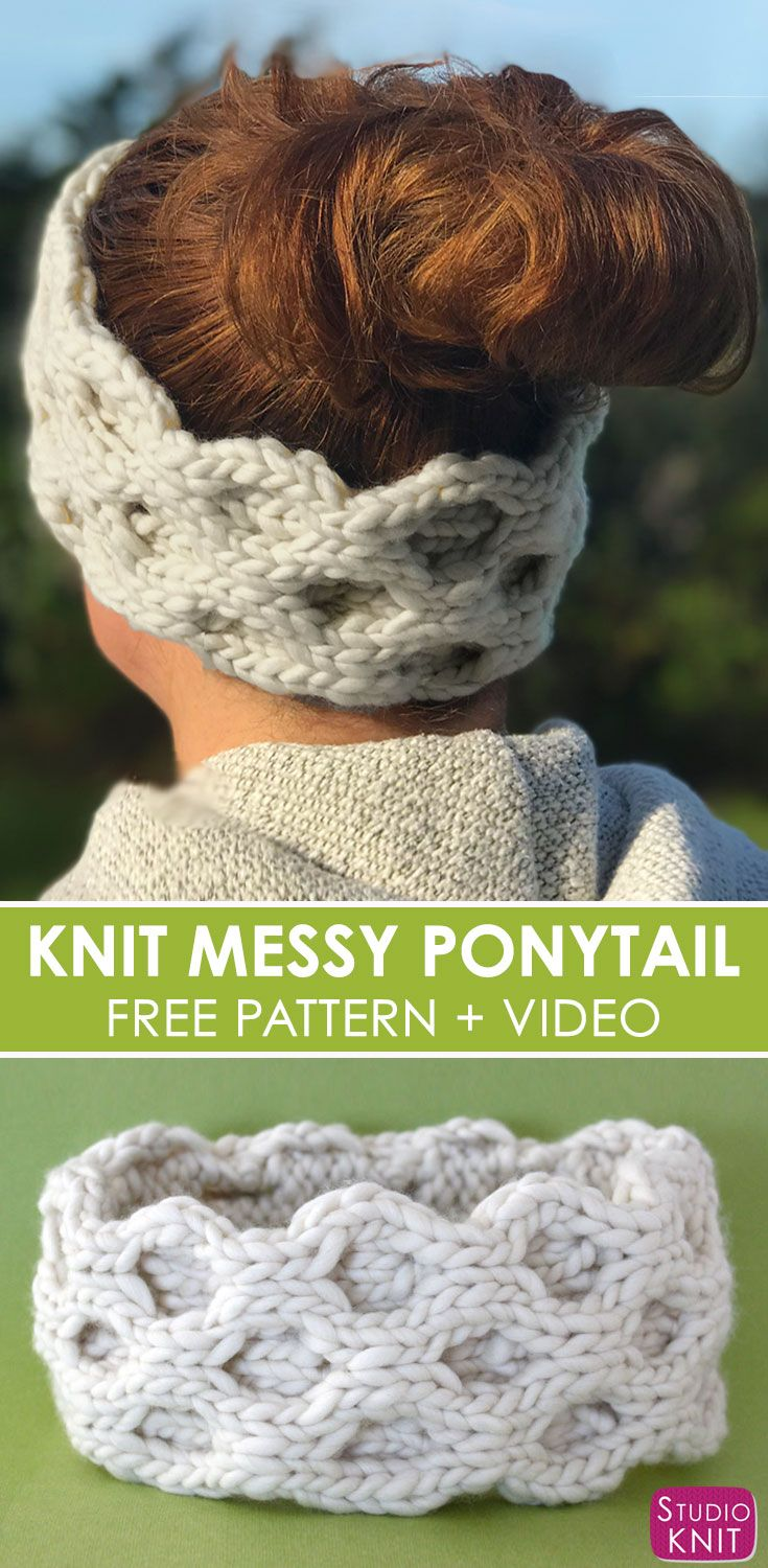 I love making Quick Knit Cable Messy Ponytail Hat Accessories from the simple Honeycomb Stitch with Free Written Pattern and Video Tutorial by Studio Knit. #knitting #accessories #freeknittingpattern #studioknit