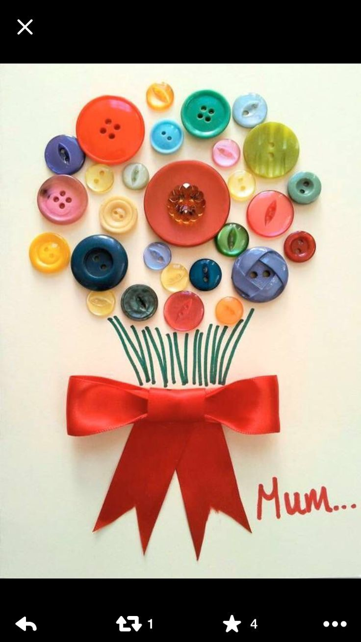 Mother's Day Card Idea with buttons. Easy to make Mother's Day card for children