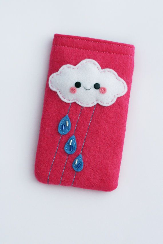 Custom Cloud Felt Phone Case / Phone Pouch Pink by hannahdoodle