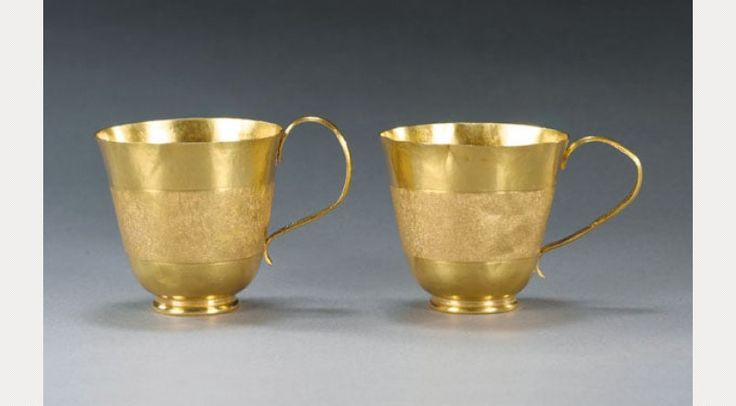 Palmerston gold chocolate cups by John Chartier, c. 1700 John Chartier was an early French Huguenot Silversmith Refugee one of thousands who fled France because of Religious persecution against Protestants