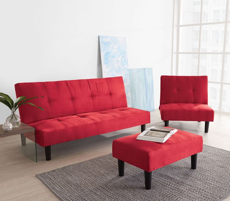 Creativity is a your best friend with this innovative couch.  Raise the bar with this 3-piece set, doubles as two sofa-beds.