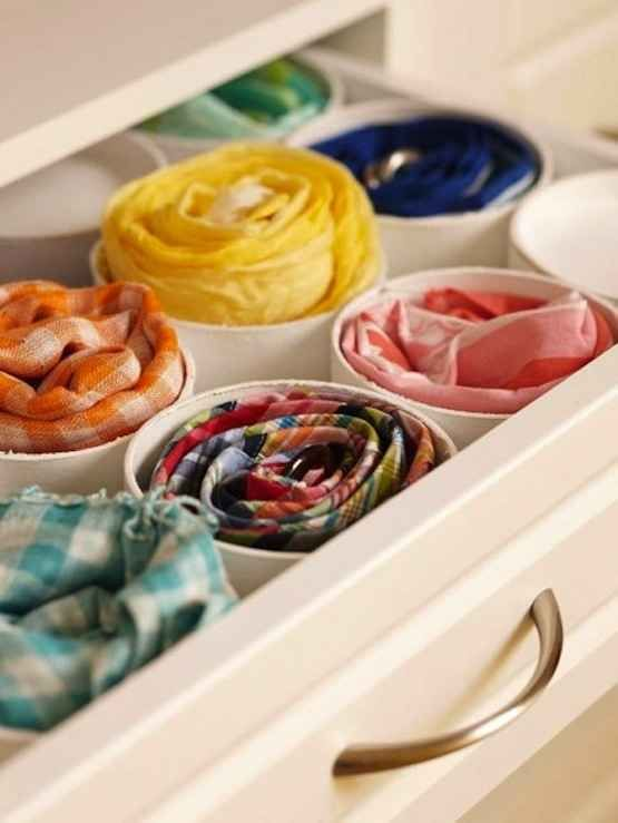 Or, you can use cut PVC for storing scarves, belts, or ties in drawers.   53 Seriously Life-Changing Clothing Organization Tips