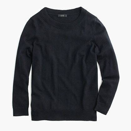 Tippi sweater from J.Crew is the most perfect fitted sweater and comes in a million different colors that I would recommend getting. This will look great with your black pleated skirt too! With a statement necklace and leopard pumps