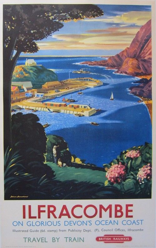 Vintage UK Railway Travel Poster: Ilfracombe, Devon Coast