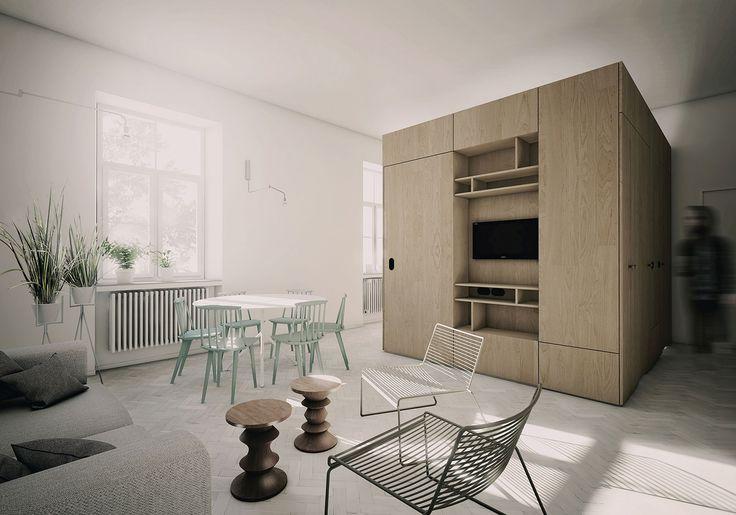 PERŁA BREWERY APARTMENTS   oak, herringbone wood floor, hay furniture, hotel room
