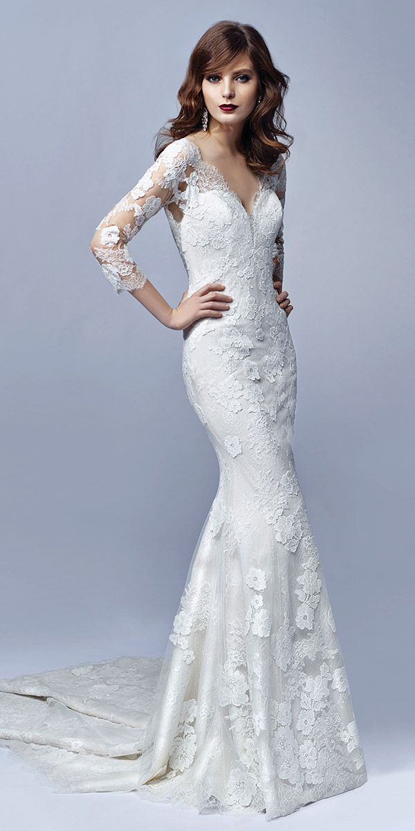 """Blue by Enzoani """"Jojo"""". This romantic mermaid gown in Alencon and Chantilly lace features elegant 3/4 illusion sleeeves and a delicately scalloped deep V neckline. Timelessly gorgeous and completely contemporary all at once!"""