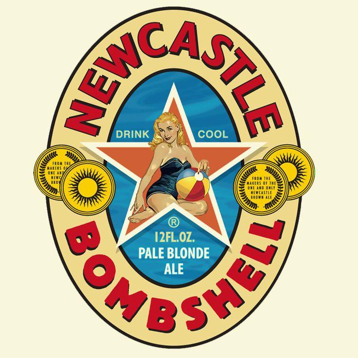 Newcastle Bombshell beer T-shirt Pin-Up girl Guiness Corona cotton graphic tee  #GildanHanesAnvil #GraphicTee