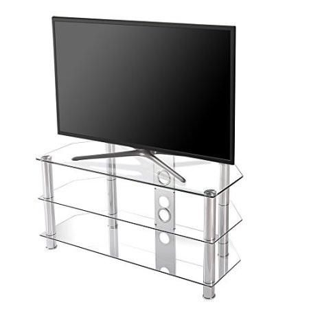 Fitueyes high quality corner media tv stand/Classic Clear Tempered Glass Tv Stand Fit for up to 46-inch LCD LED Oled Tvs TS310501GT