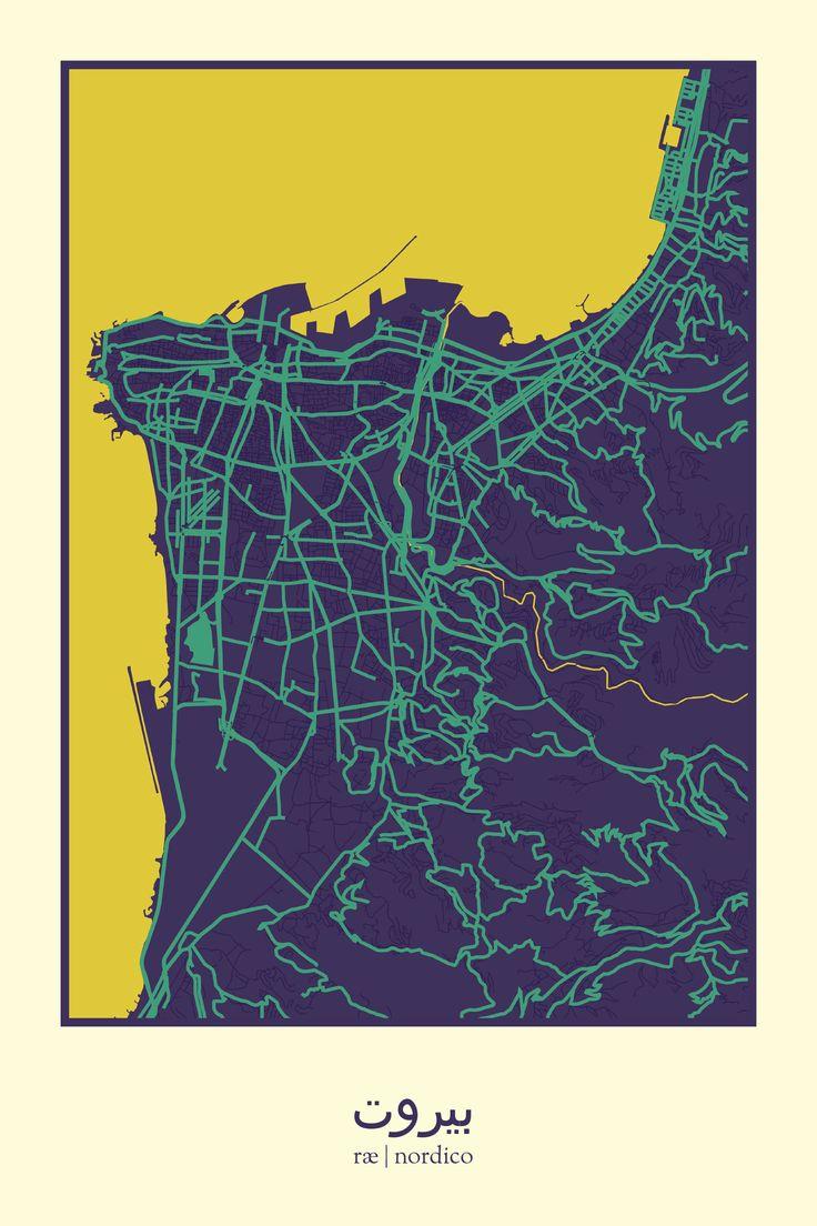 Beirut Lebanon Map Print 245 best