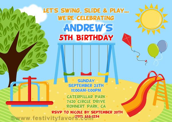 Playground Birthday Party Invitations $1.00 each http://www.festivityfavors.com/item_977/Playground-Birthday-Party-Invitations.htm