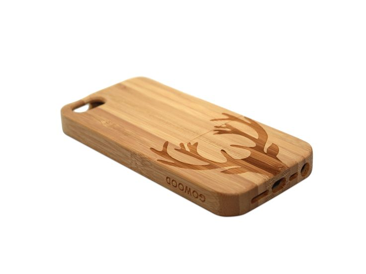 iPhone 5 and iPhone 5S phone case in bamboo with a beautiful art design of a deer on the back of the case | GoWood #iPhone #iPhone5 #iPhone5S #phonecase #woodenphonecase #woodphonecase #phone #deer #bamboo #case