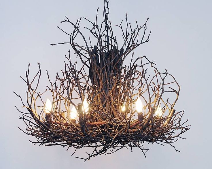 "The perfect alternative to antler chandeliers: rustic twig chandelier in 30"" and 36"" diameters"