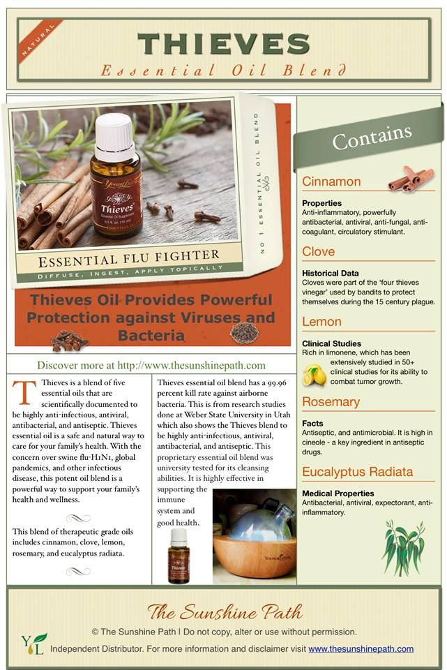Thieves essential oil blend comprises of 50% Clove, and Lemon, Rosemary, Cinnamon and Eucalyptus Radiata essential oils.  #Cloves Extract Kills Influenza A Virus and Protects Lungs: After screening 86 different traditional Chinese herbs, researchers found the most potent anti-viral plant to be cloves, whose extract (eugenol) killed over half of the #influenza A virus outright. http://1.usa.gov/1i52FAS https://www.youngliving.com/signup/?site=US&sponsorid=1471893&enrollerid=1471893