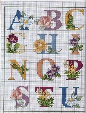Punto de Cruz GRATIS: Abecedario con flores.