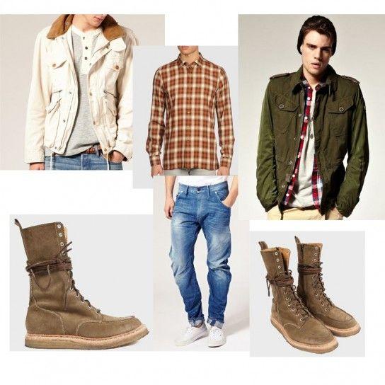 Stile boscaiolo con camicie check e anfibi alti