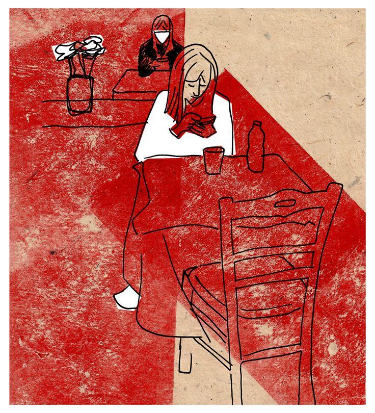 """Smartgirls"" - Marco Campedelli, 2014 - mixed media #mixedmedia #illustration #drawing #smartphone #girls"