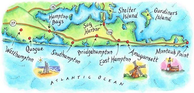 hamptons ny map by jennifer thermes long island long island ny