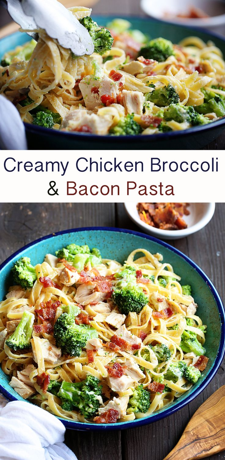 Kick up classic fettucini alfredo a bit by adding broccoli and bacon! This Chicken Broccoli Bacon Fettucine will be a big hit with your family!