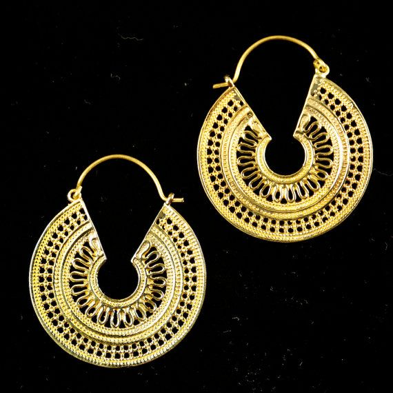 Ethnic hoop earrings afghan style vintage look by DhanaJewellery