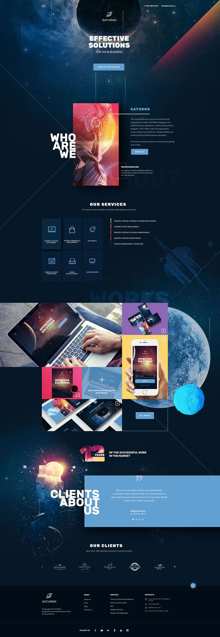 Saturno | Space Design | Portfolio | Dark and Light | PSD template #studio #unique #unusual • Download ➝ https://themeforest.net/item/saturno-space-design-portfolio-dark-and-light-psd-template/20928852?ref=pxcr