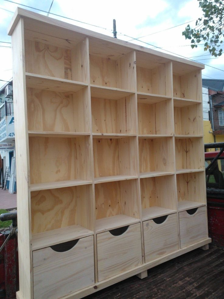 Astilla muebles biblioteca de pino con cajones for Cajones para muebles