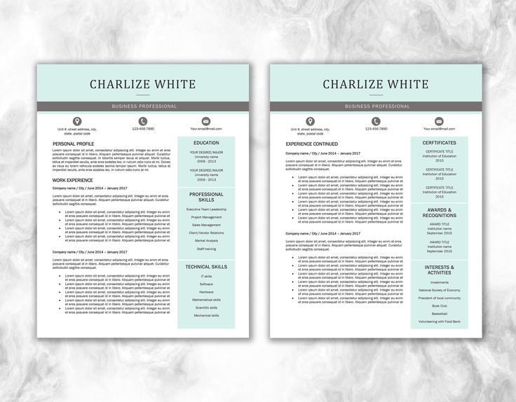 Resume Template + Cover Letter | Edit Resume Word | Print Resume Word |  Professional Resume | Resume Design | CV Template | Modern Resume  Cover Letter Templates For Resume