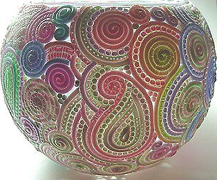 extruded filigree covered glass vase/votive holder