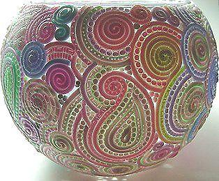 extruded filigree covered glass vase/votive holder