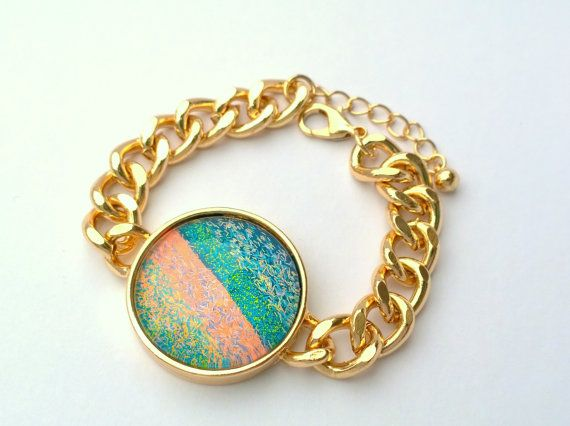 Watch Style Bracelet - Handpainted neon lacquer and bar glitters.
