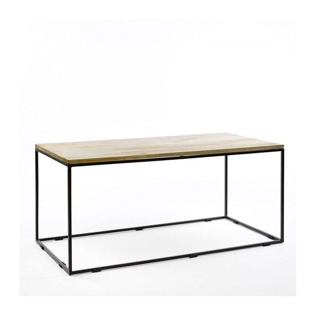 Table Basse Rectangulaire Metal Noir Et Bois De Manguier Table Basse Rectangulaire Table Basse Et Table Basse Metal