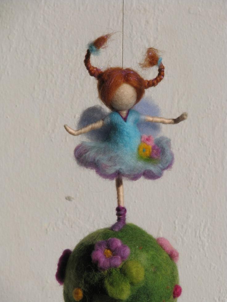 Waldorf inspired needle felted nursery mobile.