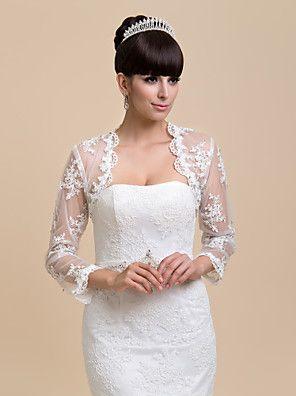 Wraps Wedding Cappotti / Giacche Maniche lunghe Pizzo Avorio Matrimonio  29,39 €   / Da sera / Casual Aperte