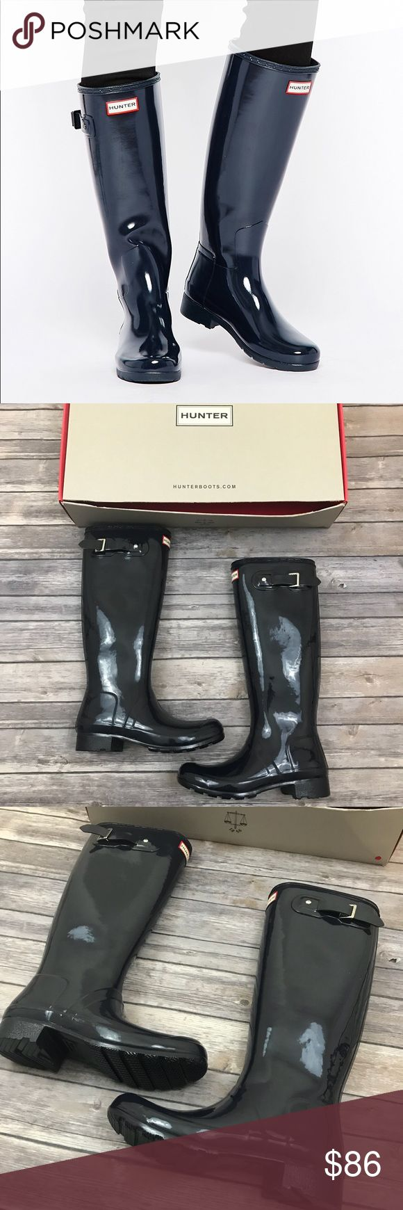 New Hunter Original Tall Gloss Rain Boots Hunter Original Tall Gloss Rain Boots •New in box (the top of the box has been cut, but is included) •Color: Midnight Navy •Size 8 •Retails for $150  Check out my other listings- Nike, adidas, Michael Kors, Kate Spade, Miss Me, Coach, Wildfox, Victoria's Secret, PINK, Under Armour, True Religion, Ugg Australia, Free People and more! Hunter Boots Shoes Winter & Rain Boots