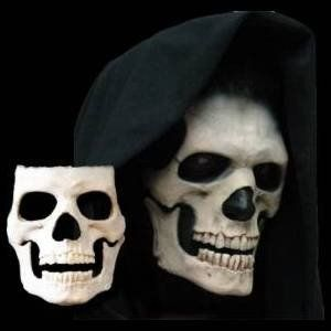 A timeless classic. The skull is a bold, iconic piece with the cold scowl of Death itself. This is a two piece appliance (face & bottom jaw) that makes the eyes look sunken very deep so that under a h