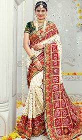Multicolor Shaded Embroidered Banarasi Silk Designer Sari  #latestdesignersarees2016 #designerweddingsarees Add a vibrant burst of color inside your wardrobe with this multicolor shaded embroidered banarasi silk designer sari. This gorgeous saree is displaying some brilliant embroidery done with lace, resham and stones work. Upon request we can make round front/back neck and short 6 inches sleeves regular saree blouse also. USD $ 361 (Around £ 249 & Euro 274)
