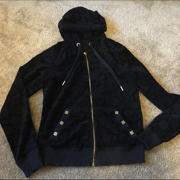 Juicy Couture black and gold zip up hoodie Great condition Juicy Couture Tops Sweatshirts & Hoodies