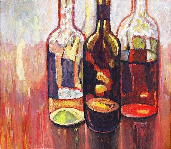 Still Life with Glass Bottles  Original by PetrLdinPaintings