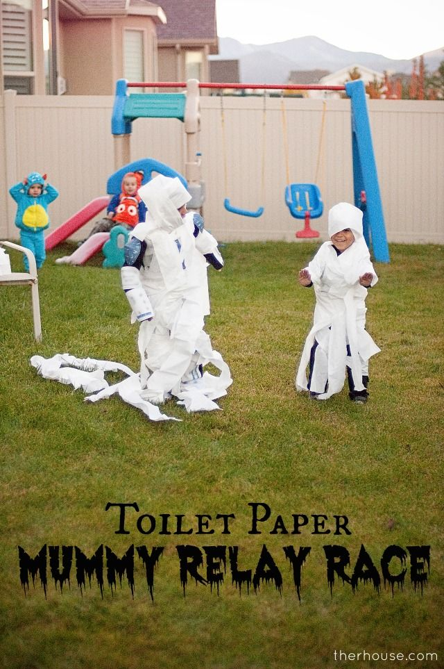 """Have each team """"wrap a mummy"""" and then the mummy runs the race to the finish line, first team to wrap a team member and get that mummy to the end first wins!"""