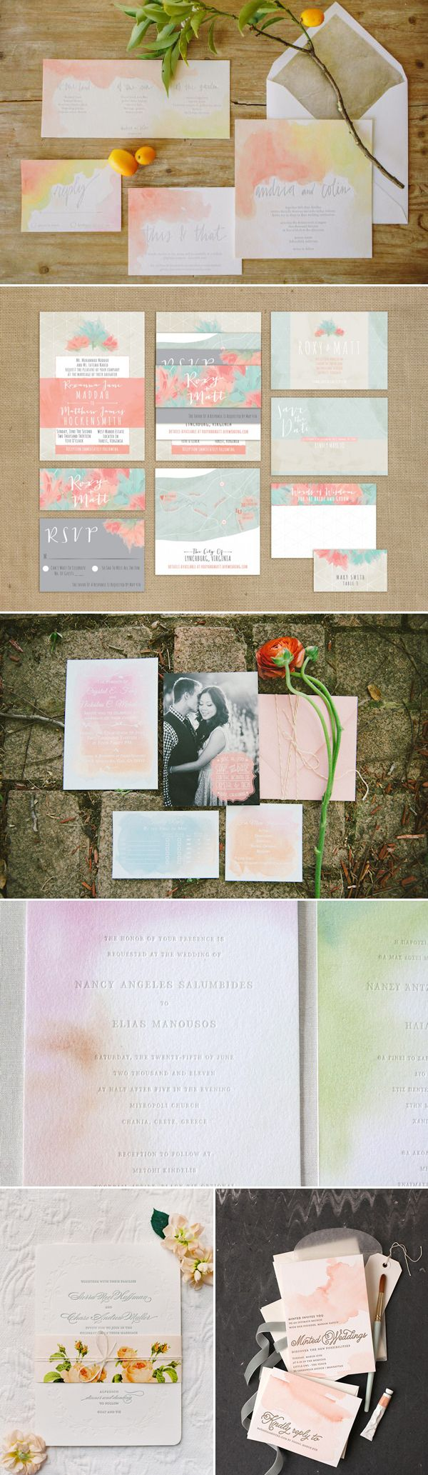 Romantic watercoloured inviations #WeddingInvitation #WeddingInspiration