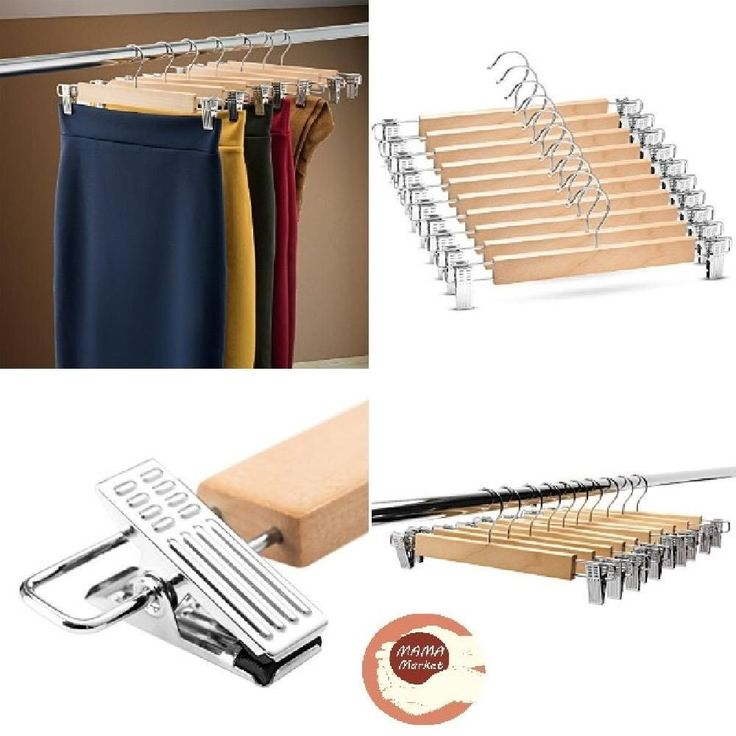 Wooden Pants Hangers Trouser Hanger Skirt hangers Pants Jeans Slacks save space #ZOBER