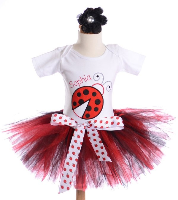 Red and Black Big Ladybug Birthday Tutu Outfit