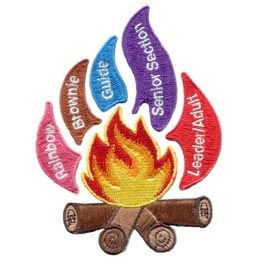 UK, United, Kingdom, Flames, Guiding, Set, Rainbow, Brownie, Guide, Senior, Section, Leader, Adult, Patch, Embroidered Patch, Merit Badge, Badge, Emblem, Iron On, Iron-On, Crest, Lapel Pin, Insignia, Girl Scouts, Boy Scouts, Girl Guides