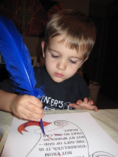Reformation Day Activities - use feathers for quills and red paint for ink (red is the official color of the reformation)
