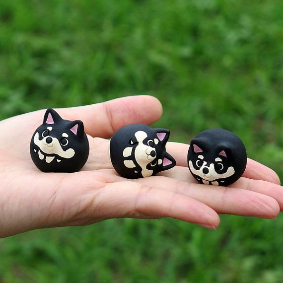 Shiba Inu figurine of Ceramics The black by Sirosfunnyanimals