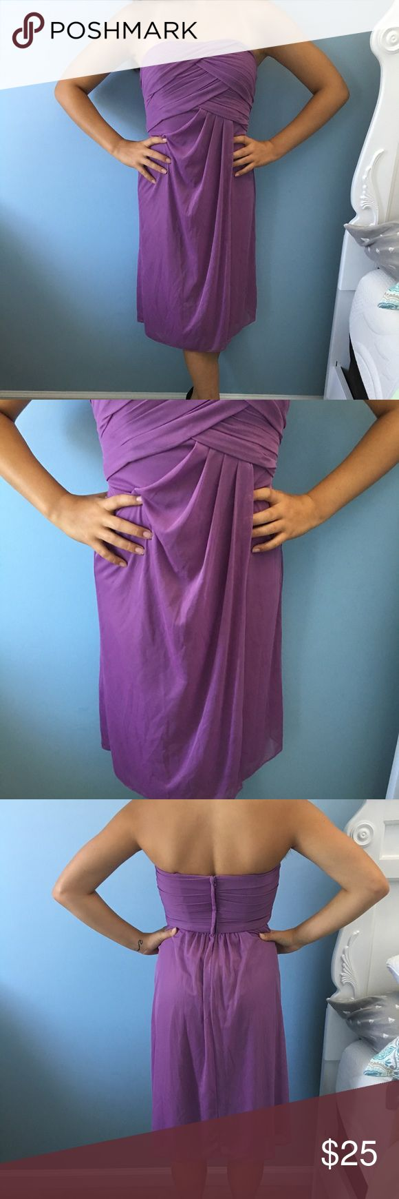 Purple cocktail dress Beautiful dress worn one time. Perfect for cocktails, date night, or wedding. Smoke and pet-free home. David's Bridal Dresses Strapless